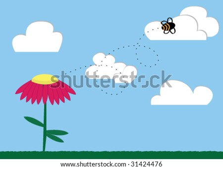 Illustration of a bee in the sky flying away