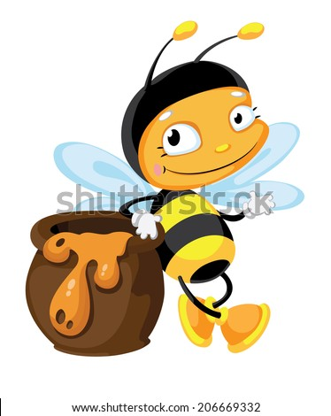 illustration of a bee with pot - stock vector