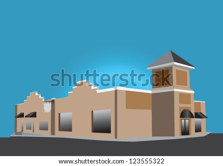 illustration of a beige retail storefront with black awnings - stock vector