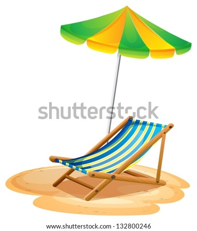 Illustration of a bench with a summer umbrella on a white background - stock vector