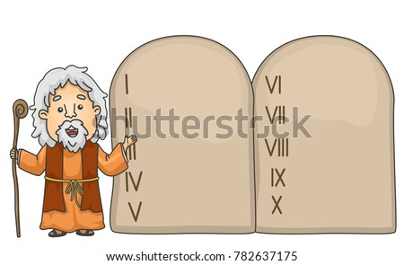 Illustration Bible Story About Moses Pointing Stock Vector Royalty