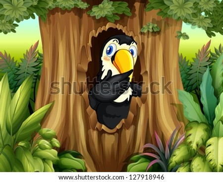 Illustration of a big bird in the forest - stock vector