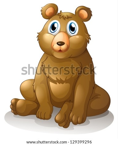 Illustration of a big brown bear on a white background