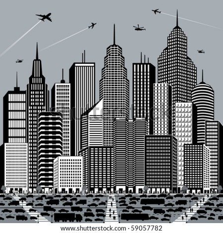Illustration of a big, busy city. - stock vector