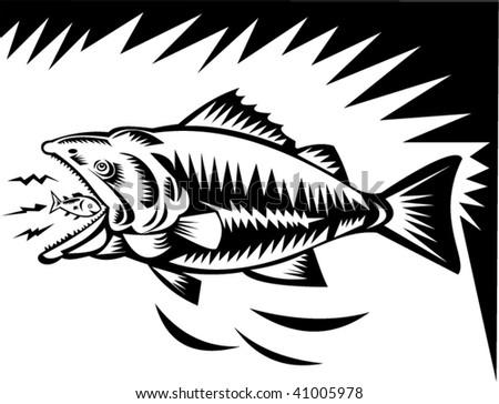 illustration of a big fish eating a small fish - stock vector