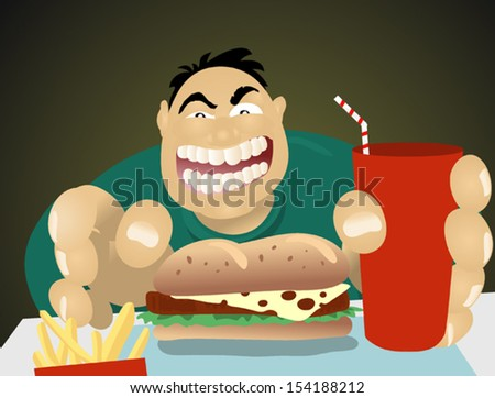 Illustration of a big guy about to eat some fast food. - stock vector
