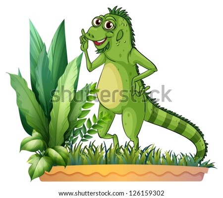 Illustration of a big reptile on a white background
