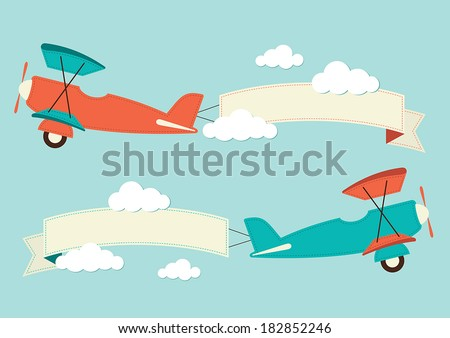 Illustration of a biplane with banners - stock vector
