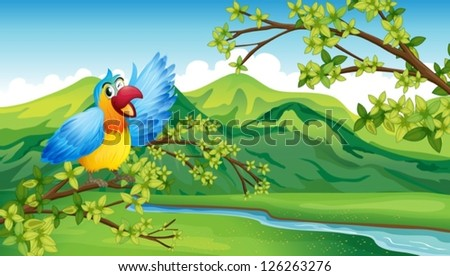 Illustration of a bird on a branch of a tree - stock vector