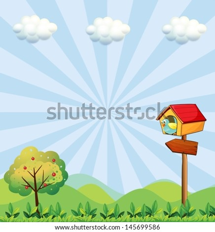 Illustration of a birdhouse at the hilltop with an arrowboard - stock vector