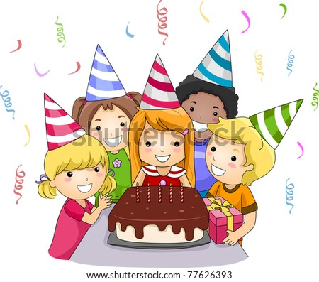 Illustration of a Birthday Celebrant About to Blow Her Birthday Candles - stock vector
