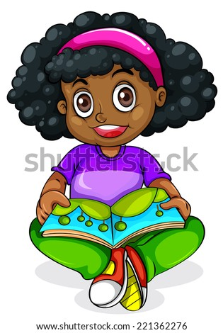 Illustration of a Black young girl reading on a white background   - stock vector
