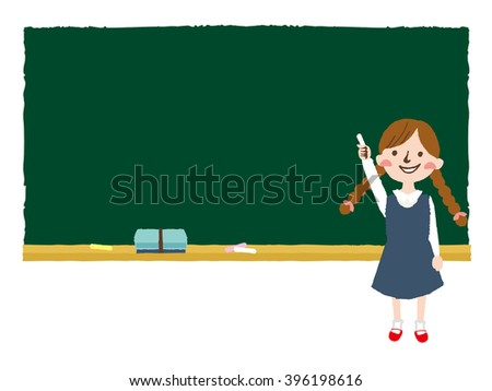 Illustration of a blackboard with a girl