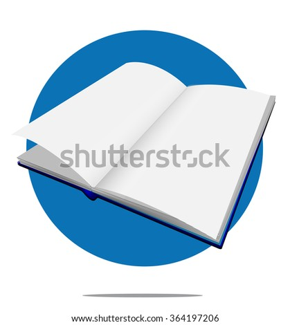 Illustration of a blank book with blue circle background - stock vector