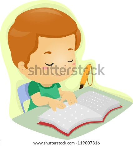 Illustration of a Blind Boy Reading a Book Written in Braille - stock vector