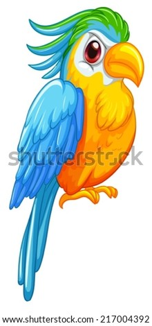 illustration of a blue and yellow parrot - stock vector