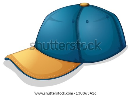 Illustration of a blue cap on a white background - stock vector