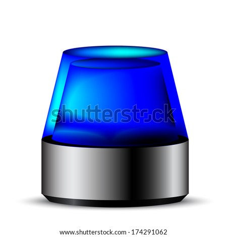 Illustration of a blue flashing light, symbol for alert and emergency - stock vector