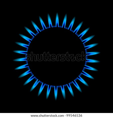 illustration of a blue gas flame from above - stock vector