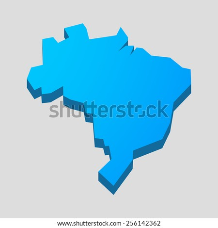Illustration of a blue isolated  Brazil map  - stock vector