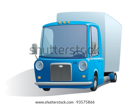 illustration of a blue retro truck - stock vector
