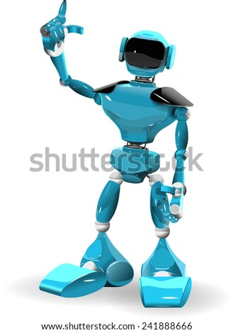 Illustration of a blue robot on white background - stock vector
