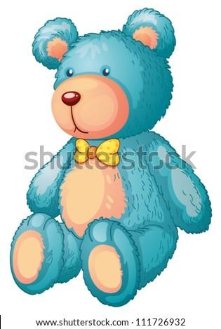 Illustration of a blue teddy bear - stock vector