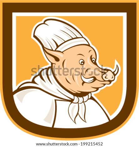 Illustration of a boar chef cook facing side set inside shield crest done in cartoon style on isolated background.