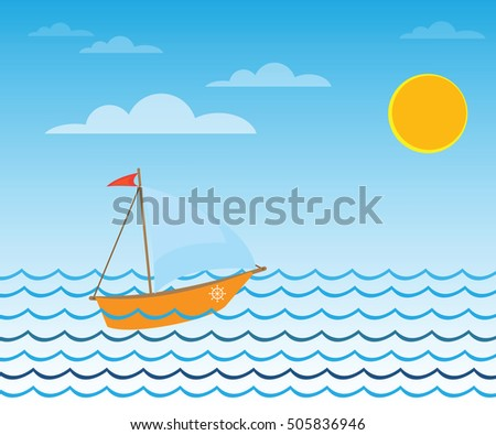 Illustration of a boat with sails floating in the sea
