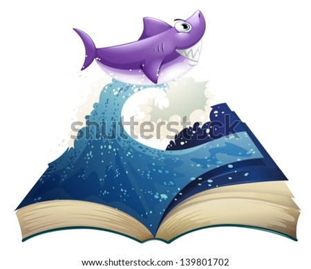 Illustration of a book with an image of a wave and a shark on a white background