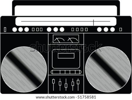 Illustration of a boombox stereo. - stock vector