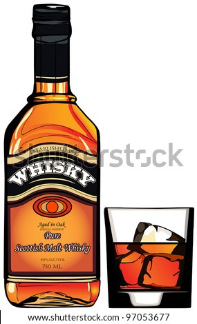 illustration of a bottle of Whisky and a glass - stock vector