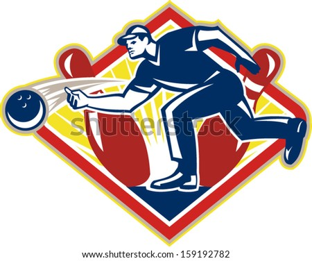 Illustration of a bowler bowling striking pins set inside diamond shape done in retro style on isolated white background.