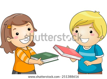 Illustration of a Boy and a Girl Exchanging Books - stock vector