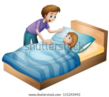 illustration of a boy and a girl on a white background - stock vector