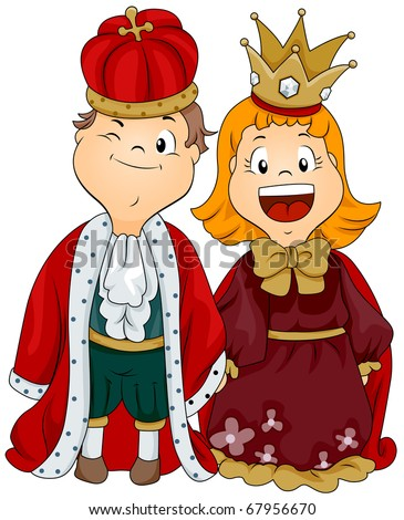 Illustration of a Boy and Girl Dressed as a King and Queen - stock vector