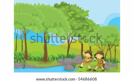 Illustration of a boy and girl on a white background - stock vector