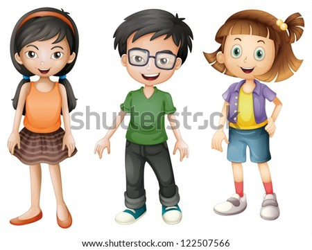 Illustration of a boy and girls on a white background - stock vector