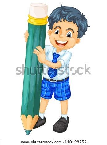 illustration of a boy and pencil on a white background - stock vector