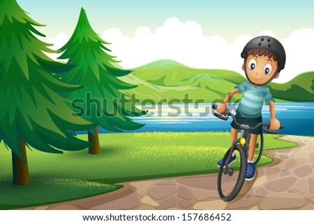 Illustration of a boy biking near the pine trees at the riverside - stock vector