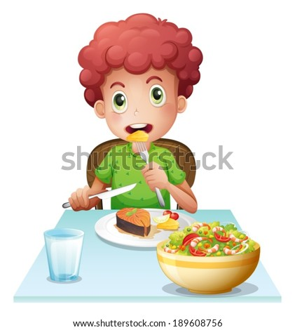 Illustration of a boy eating on a white background - stock vector