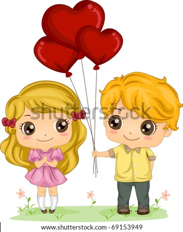 Illustration of a Boy Giving a Girl a Bunch of Balloons