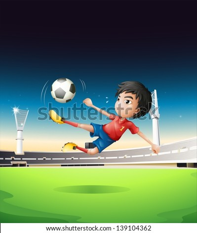 Illustration of a boy in a red uniform at the soccer field - stock vector