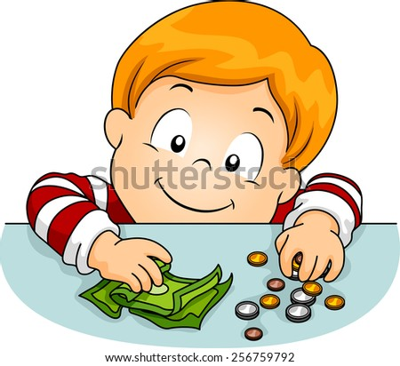Illustration of a Boy Laying Money on the Table - stock vector