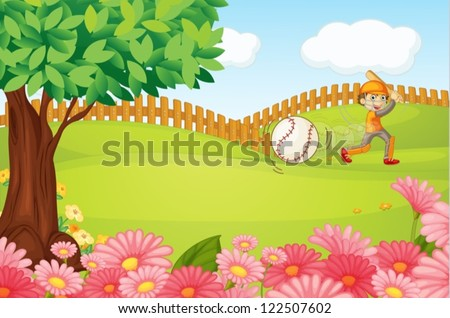 Illustration of a boy playing cricket in a beautiful nature - stock vector