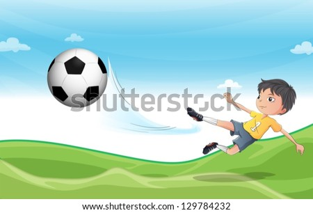 Illustration of a boy playing football at the hills - stock vector