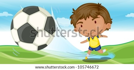 illustration of a boy playing football on ground - stock vector