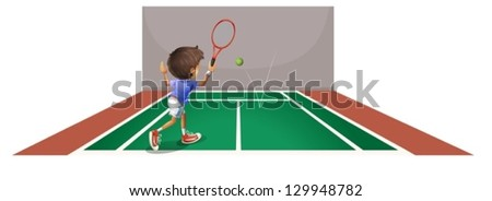 Illustration of a boy playing tennis at the court on a white background - stock vector