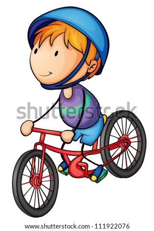 illustration of a boy riding on a bicycle - stock vector