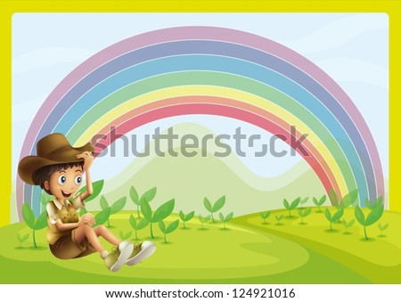 Illustration of a boy sitting and rainbow as background - stock vector